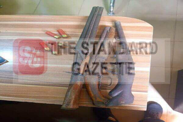 Three-locally-made-guns-and-used-catridges-recovered-Standard-Gazette