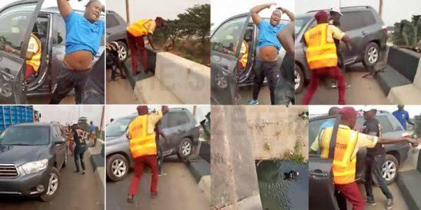 Sunday Okodo battling with LASTMA officials