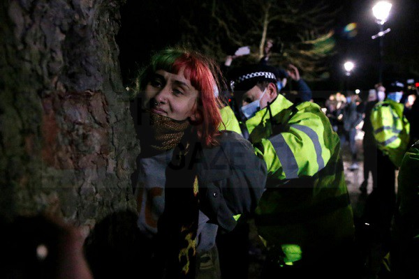 Woman Detained during Vigil organized for Sarah Everard on Clapham Common