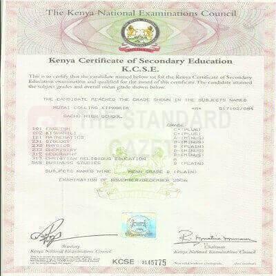Kenya Certificate of Secondary Education KCSE