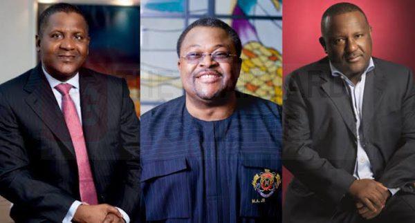 Aliko Dangote, chairman of Dangote Group; Mike Adenuga, chairman of Globacom; and Abulsamad Rabiu,