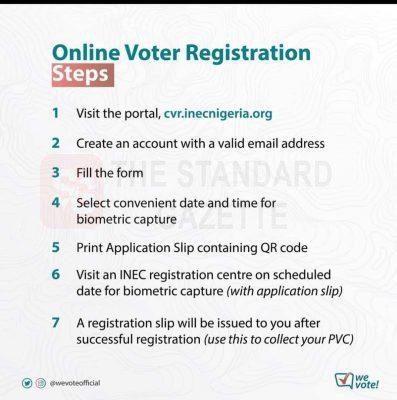 INEC Online Voter's Registration Step