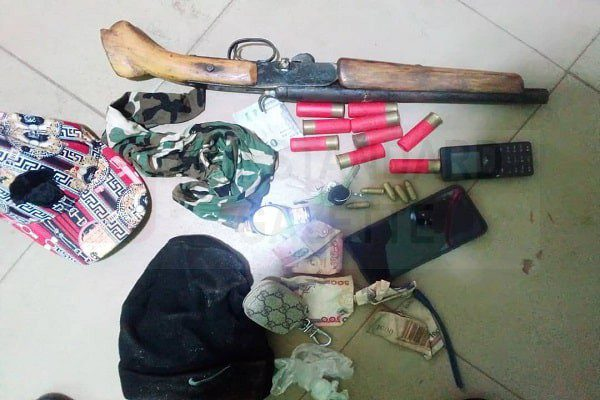 Items recovered from the dead armed robbers
