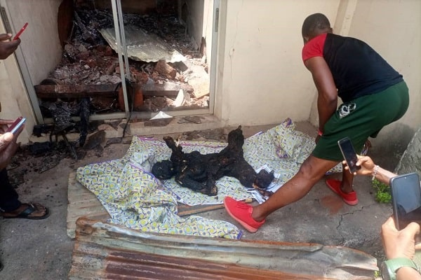 Woman burned to scrip in the inferno