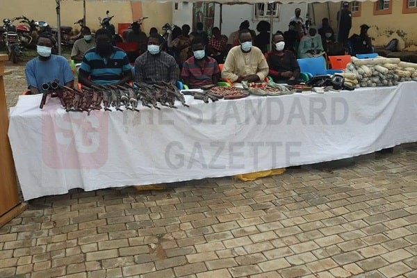 Edo police displays arms recovered from suspects